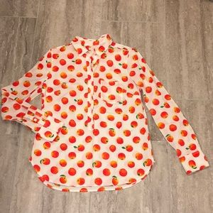 J.Crew Orange 3/4 Button Down Collared Shirt S 🍊